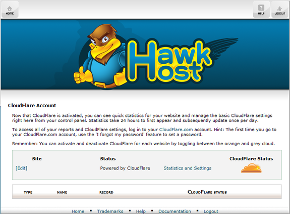 Hawk Host and Cloudflare cPanel