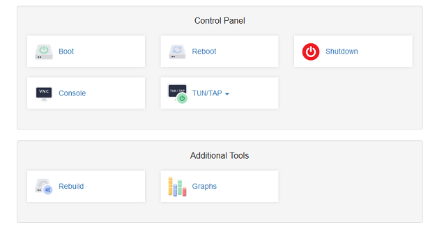 VPS Control Panel Example Buttons